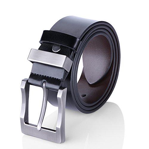 Men's Belt Reversible Business Casual Belt for Men with Pin Buckle (Black & Brown) - Belt Size Waist Size