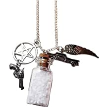Supernatural TV Series Salt Bottle Protection CHARMS NECKLACE on 24 Inch Chain