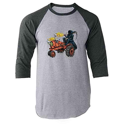 Habanero Scoville Units - Funny Grim Reaper Shirt Hot Pepper Tractor Gray 2XL Raglan Baseball Tee Shirt