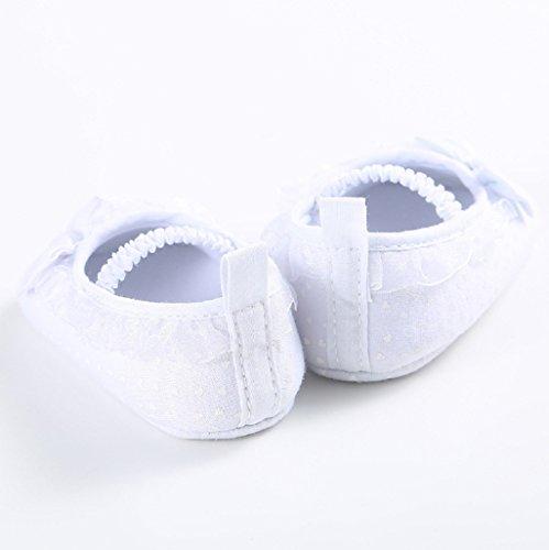 Auxma Zapatos de Bowknot de los bebés calza los zapatos suaves del pesebre del niño de la sola Para 0-18 mes Blanco