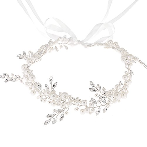 Bohemian Headpiece Crystal Pearl Bridal Hair Vine Halo Wedding Headband Tiara White Silk Chain ()