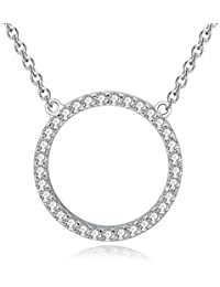 Sterling Silver Cubic Zirconia CZ Open Triangle Pendant Necklace