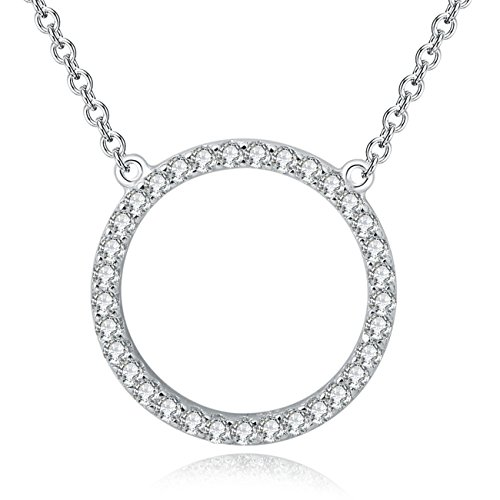 YAN & LEI Sterling Silver Cubic Zirconia CZ Layering Open Circle Pendant Necklace Color Silver - Circle Zirconia Necklace