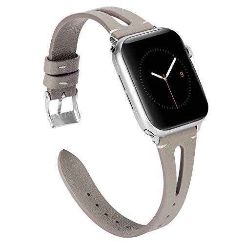Wearlizer Gray Leather Compatible with Apple Watch Bands 42mm 44mm iWatch Womens Mens Special Triangle Hole Sport Straps Wristband Cool Replacement Bracelet (Metal Silver Buckle) Series 4 3 2 ()