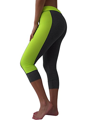 Prestige Women's Performance Heather Gray Athletic Yoga Capri Leggings, Lime Green, Medium ()