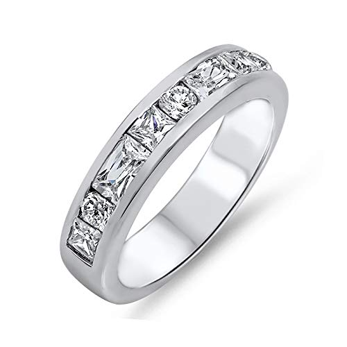 Round Baguette Princess Cut Cubic Zirconia Womens Sterling Silver Half Eternity Band Ring Size 5