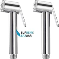 WHOLESALE INDIA Supreme Bazaar Sleek Health Single Handle Installation Type Plastic Push Cock Faucet Head Spray Gun (Silver) - Set of 2