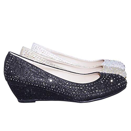 Forever Womens Low Wedge Heel Closed Toe Wedding Party Dress Sandals Shoes-2,Black,10