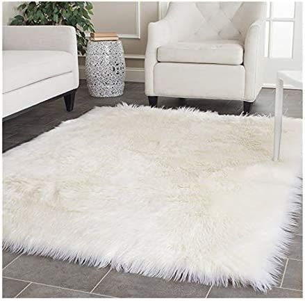 Elhouse Home Decor Rectangle Square Rugs Faux Fur Sheepskin Area Rug Shaggy Carpet Fluffy Rug for Baby Bedroom,6ftx6ft,White