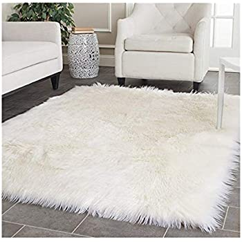 Elhouse Home Decor Rectangle Square Rugs Faux Fur Sheepskin Area Rug Shaggy  Carpet Fluffy Rug for Baby Bedroom,6ftx6ft,White