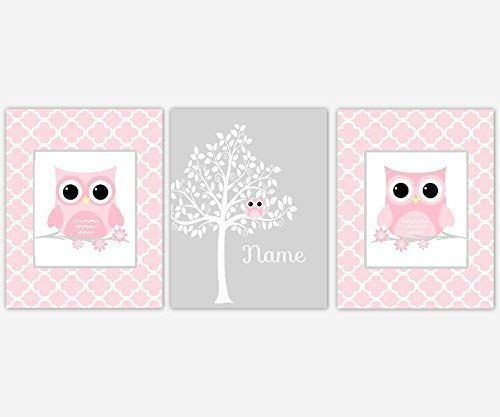 Baby Girl Nursery Wall Art Owls Pink White Silhouette Tree Personalize Name Baby Nursery Decor SET OF 3 UNFRAMED PRINTS -