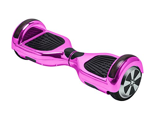 UL2272 Certified Hoverboard with Bluetooth Speaker and LED Lights Smart Self Balancing Scooter Personal Adult Transporter- Chrome Pink