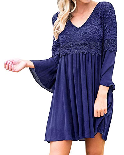 kenoce Women's Bell Sleeve Floral Lace Dress A-line Loose Casual Mini V Neck Summer Party Dress Navy 2XL