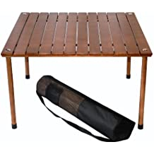 Table in a Bag W2716 Original Low Wood Portable Table with Carrying Bag, Brown