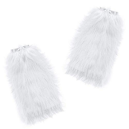 Fun Central BC590, 2 Pcs, 14 Inches, White Furry Leg Warmers, Long Leg Warmers for Women, High Leg Warmer for Winter Wonderland Party