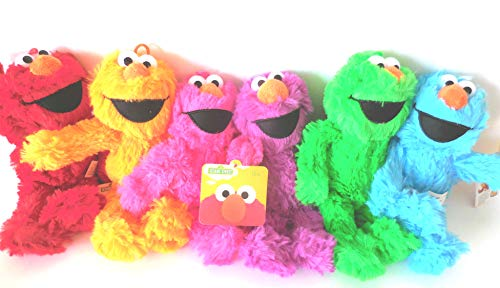 Sesame Street Neon Elmo 6 pcs Red, Blue, Orange, Purple, Green and Pink