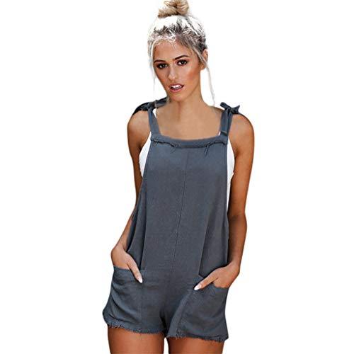 s Jumpers Elastic Waist Dungarees Cotton Linen Pockets Rompers Jumpsuit Denim Shorts Pants (Blue, XL) ()