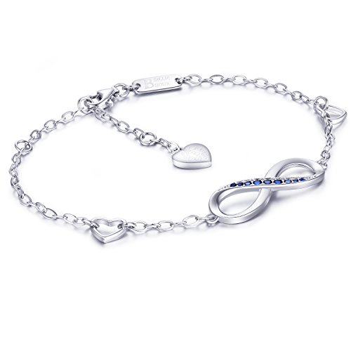 Billie Bijoux Womens 925 Sterling Silver Infinity Endless Love Symbol Charm Adjustable Bracelet Gift for Mother's Day (Blue) by Billie Bijoux (Image #1)