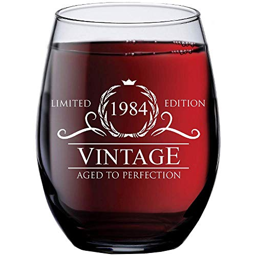 1984 35th Birthday Gifts for Women and Men Wine Glass | Funny Vintage 35 Year Old | Anniversary Gift Ideas Him Her Husband Wife Mom Dad | 15 oz Stemless Glasses | Party Supplies Decorations Red