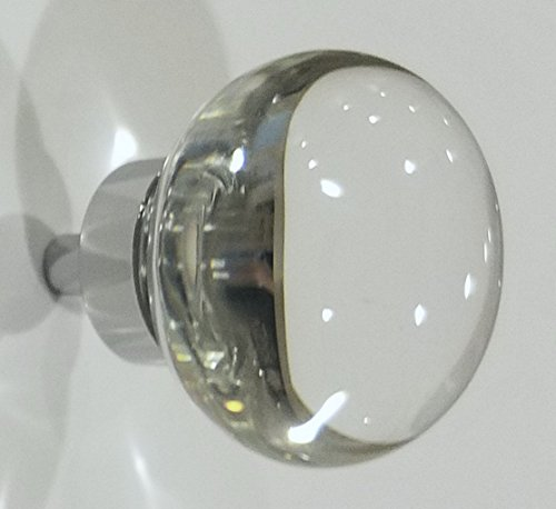 Chrome Glass Cabinet (10 PACK 1 1/4 Inch Round Real Crystal Glass Cabinet Knobs (Polished Chrome))