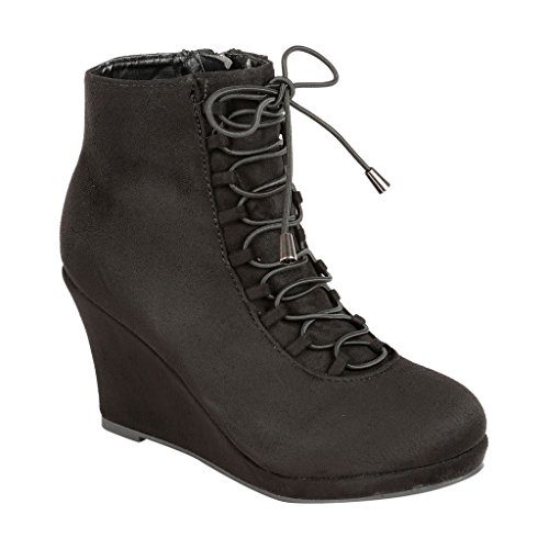 Coshare Women's Fashion Versatile Assorted Ankle High Wedge Booties