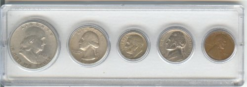 1948 BIRTH YEAR COIN SET, 5 COINS TOTAL- SILVER HALF DOLLAR, SILVER QUARTER, SILVER DIME, NICKEL, AND CENT- ALL DATED 1948 AND DISPLAYED IN A PLASTIC HOLDER--NOTE--THESE COINS WILL BE - Antique Coins Dollar