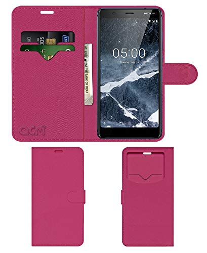 Acm Leather Window Flip Wallet Front   Back Case Compatible with Nokia 5.1 Mobile Cover Pink