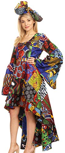 Sakkas 2215 - Olivia Women's Elegant Cocktail Long Sleeves Party Dress African Print - 144-Multi - OS (Best African Fashion Dresses)