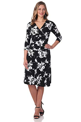 (Rekucci Women's Slimming 3/4 Sleeve Fit-and-Flare Crossover Tummy Control Dress (10,Black/White)