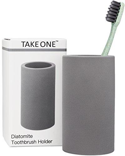 Organic Toothbrush Holder Grey Diatomite Bathroom Countertop Organizer Stand