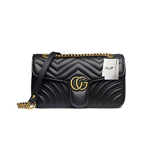 Women Fashion Shoulder Bag Jelly Clutch Leather Handbag Quilted Crossbody Bag with Chain ()