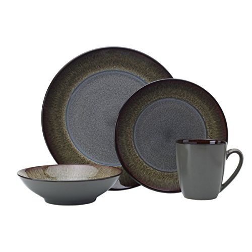 Pfaltzgraff 5237442 Monroe 16-Piece Porcelain Dinnerware Set, Service for 4, Dark Gray