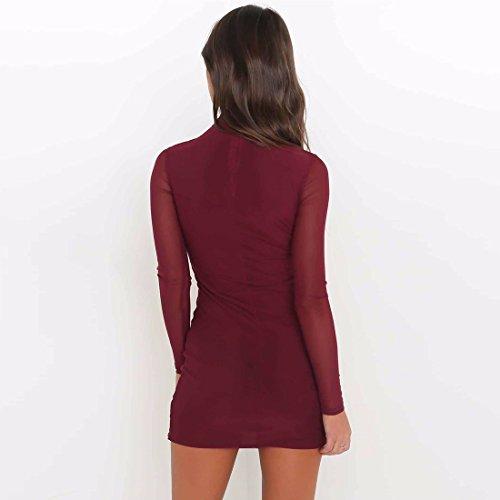 Manches Les L'Ourlet Robe Mini fonc De a VD5045 Longues Moulante QIYUN Rouge Party Z Base Femmes Irreguliere Courte vRw5qOxAX