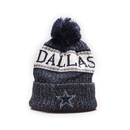Dallas Cowboys Cuffed Knit Hat Pom Toque Cap Pom Cap for Fans ()