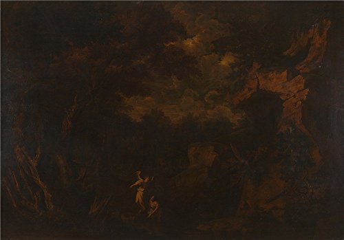 Polyster Canvas ,the High Resolution Art Decorative Canvas Prints Of Oil Painting 'Style Of Salvator Rosa Tobias And The Angel ', 20 X 29 Inch / 51 X …