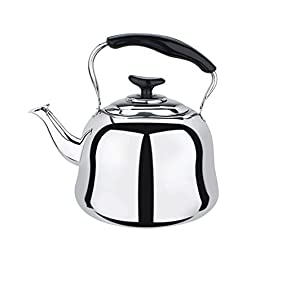 Stainless Steel Whistling Teakettle Teapot Cookware Silver Tone (4L) by CrystalRao