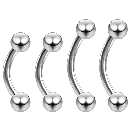 4pc 14g Curved Barbell Vertical Labret Surgical Steel Cartilage Earrings Piercing Jewelry 8mm 10mm (Gauge Surgical Steel Labret)