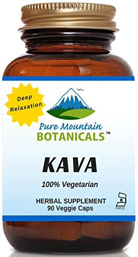 Kava Kava Capsules - 90 Kosher Veggie Caps Now with 400mg Wild Harvested Kava Root Powder by Pure Mountain Botanicals