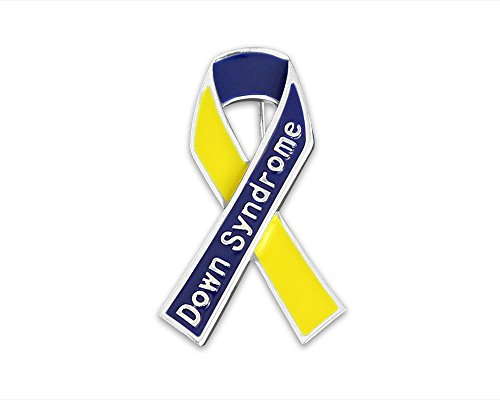 (Down Syndrome Awareness Blue & Yellow Awareness Ribbon Down Syndrome Pin (1 Pin))