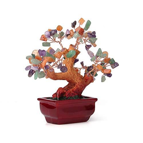 sansheng Natural Colored Crystal Tree, Crystal Tree Bonsai Decoration, Rainbow Mixed Gem Tree Amethyst, Quartz Cluster Base Bonsai Financial Sculpture Characters