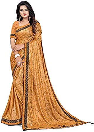 FABZONE Women's Partywear Saree with Unstitched Blouse Piece