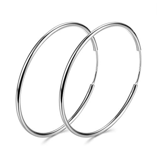 3 Pairs a Set Pure 925 Sterling Silver Large Hoop Earrings Women Plated Sterling Silver Rounded Tube Hoop Earrings High Polished Thin Silver Hoops Earrings Girls Earrings (Silver) ()