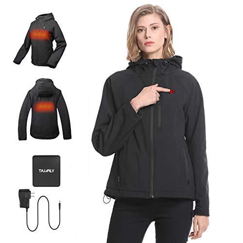 SHOOT Heated Softshell Work Jacket for Women with Battery Pack Waterproof Wind Resistant (Medium) Black