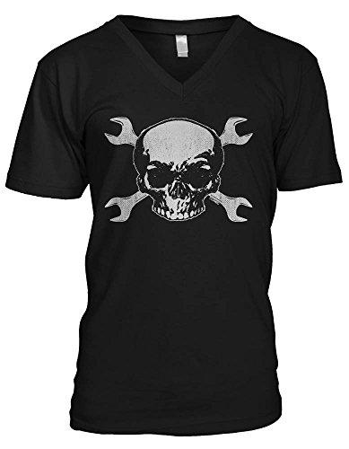 Skull With Crossed Wrench Men's V-Neck T-shirt (2XL, BLACK)