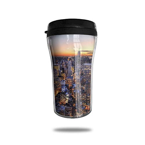 HJGKFL New York Center Rockefeller Ice Coffee Small Coffee Cup Carrying Hand Cup Reusable Plastic Curve Travel Cup Coffee Cup Asymmetric Men Children Teen Adult]()