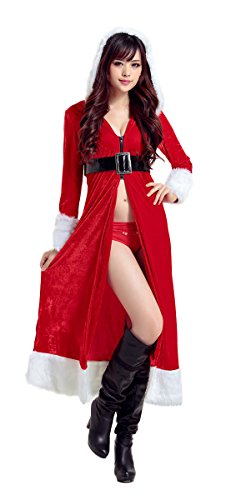 [Mumentfienlis Womens Red Hooded Cloak Costume Mrs Santa Claus Costume Christmas Cape Size SML Red1] (Mrs Santa Halloween Costume)
