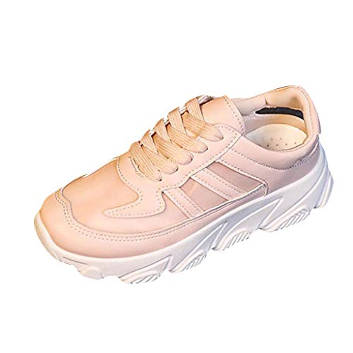 2019 Claerance Womens Summer Leisure Soft Bottom Breathable Mesh Shoes Outdoor Lightweight Walking Running Sports Shoes (Pink, US:7)