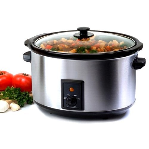 8.5 Quart Stainless Steel Crock Pot Slow Cooker with Tempered Glass Lid