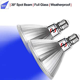 Explux PAR38 Blue LED Spot Light Bulbs, Dimmable, Weatherproof, 120W Equivalent, 2-Pack