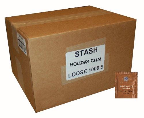 Stash Tea Holiday Chai Black Tea 1000 Count Tea Bags in Foil Individual Spiced Black Tea Bags for Use in Teapots Mugs or Cups, Brew Hot Tea or Iced Tea